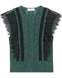 Valentino - Kurzarm-Pullover aus Spitze und Strick - Lyst