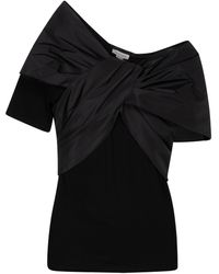 Alexander McQueen Bow-embellished Cotton T-shirt - Black