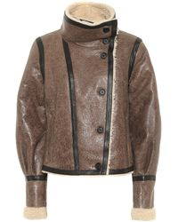 Veronica Beard Selita Shearling And Leather Jacket - Brown