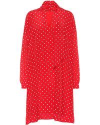 Balenciaga Polka-dot Silk Dress - Red