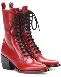 Chloé Stiefel Rylee aus Leder - Rot