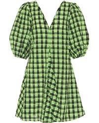Ganni Minikleid Aus Kariertem Seersucker Aus Einer Baumwollmischung - Grün