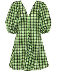 Ganni Checked Cotton-blend Seersucker Mini Dress - Green