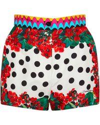 Dolce & Gabbana Short à taille haute imprimé en soie - Multicolore