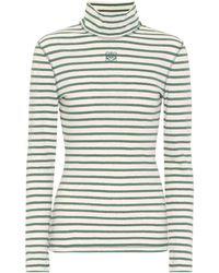 Loewe Striped Cotton-jersey Top - Green