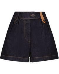 Loewe High-rise Leather-trimmed Denim Shorts - Blue