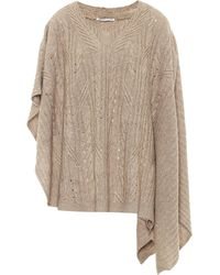 Agnona Cashmere And Linen Poncho - Natural