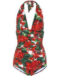 Dolce & Gabbana Costume Intero Scollato Stampa Portofino - Rosso