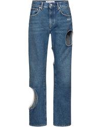 Off-White c/o Virgil Abloh Jeans boyfriend a vita alta con cut-out - Blu