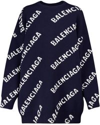 Balenciaga Oversize-Pullover aus Wolle - Blau