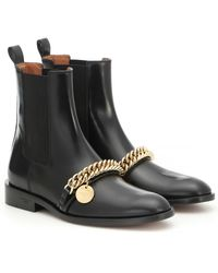 Givenchy Chelsea Boots Chain Ankle Boots Calfskin Logo Metallic Black