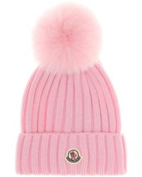 Moncler Fur-trimmed Beanie - Pink