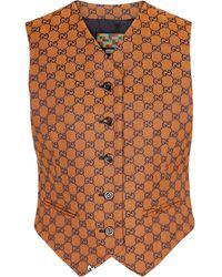 Gucci Chaleco GG Multicolor de lona - Naranja