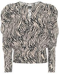 Isabel Marant Zarga Zebra-print Stretch-silk Top - Black