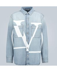 Valentino Bedruckte Jeansjacke VLOGO - Blau