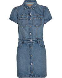 GRLFRND Macie Cotton Denim Minidress - Blue