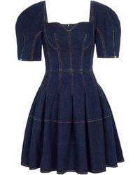 Alexander McQueen Vestido corto vaquero - Azul