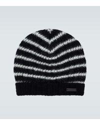 Saint Laurent Striped Beanie Hat - Black