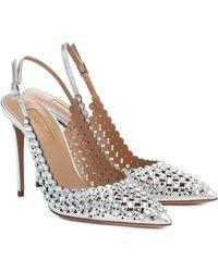 Aquazzura Tequila Crystal-embellished Court Shoes - Metallic