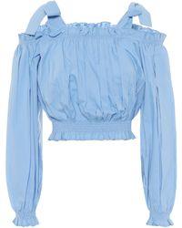 Alexandra Miro Gypsy Cotton Crop Top - Blue