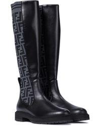 Fendi Ff Leather Knee-high Boots - Black