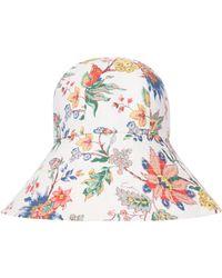 Erdem Vacation Floral Cotton Poplin Bucket Hat - White