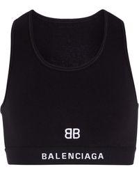 Balenciaga Sport-BH aus Baumwoll-Jersey - Schwarz