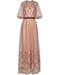 Costarellos Embroidered Glitter-tulle Gown - Pink