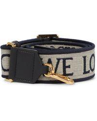 Loewe Anagram Leather-trimmed Bag Strap - Natural