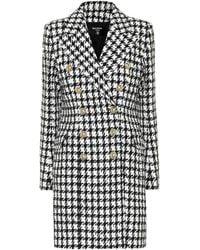Balmain Manteau en coton mélangé à carreaux - Noir