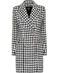Balmain Houndstooth Cotton-blend Coat - Black