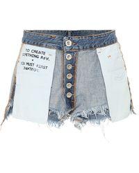 Unravel Project Shorts de jeans invertidos - Azul
