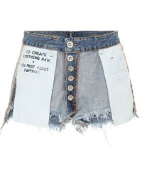 Unravel Project Distressed Jeansshorts - Blau