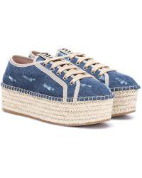 Miu Miu Sneakers espadrillas in denim con platform - Blu