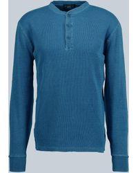 RRL Henley-Langarmshirt aus Baumwolle - Blau