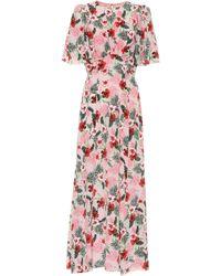Les Rêveries Esclusiva Mytheresa - Abito a stampa floreale in seta - Rosa