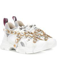 Gucci Sneakers Flashtrek mit Kristalle - Weiß