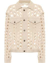 Maison Margiela Perforated Denim Jacket - Natural