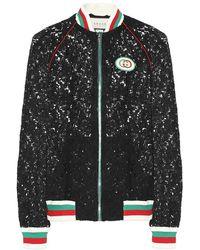 Gucci Bomber in pizzo - Nero