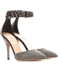 Valentino Love Latch Crystal Fabric Court Shoes - Metallic