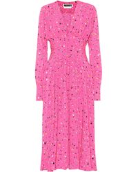 ROTATE BIRGER CHRISTENSEN Tracy Printed Midi Dress - Pink