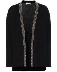 Saint Laurent Cardigan en laine et mohair mélangés à ornements - Noir