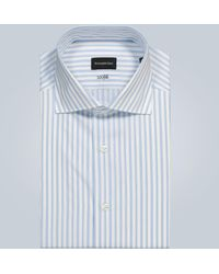 Ermenegildo Zegna Gestreiftes Hemd aus Baumwolle - Blau