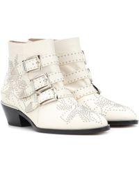 Chloé - Susanna Studded Leather Ankle Boots - Lyst