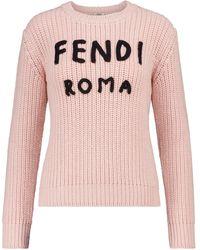 Fendi Pull en laine à logo - Rose