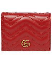 Gucci Cartera GG Marmont de piel - Rojo