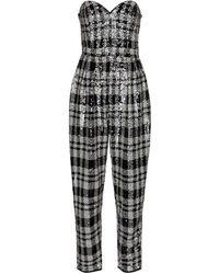 ROTATE BIRGER CHRISTENSEN Lana Checked Sequined Jumpsuit - Black