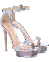Gianvito Rossi Shiva Leather Platform Sandals - Metallic