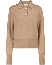 Lee Mathews Daisy Merino Wool Polo Sweater - Natural