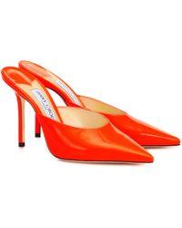 Jimmy Choo Mules Rav 100 aus Lackleder - Orange